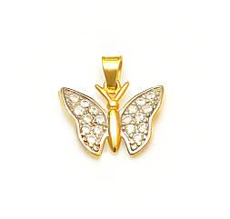 Золотой подвес Бабочка из лимонного золота