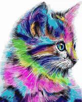 Холст для рисования по номерам Турбо Радужный котенок (VP625) 40 х 50 см