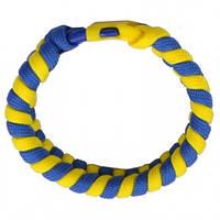 Браслет из паракорда 'Змейка' (100+100см), желто-голубой