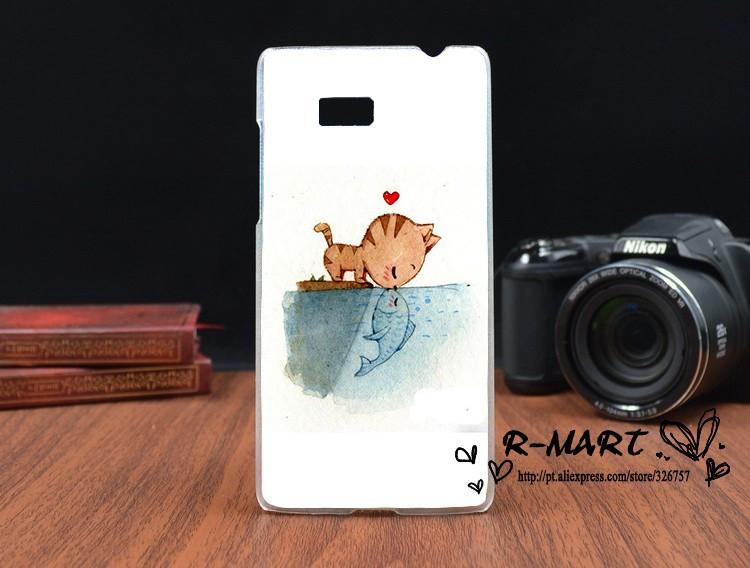 Силиконовый чехол для HTC Desire 600 с рисунком любовь рыбки и кота