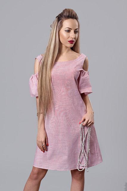 b050b0ec887 Льняное женское платье с вырезами на плечах красное - Интернет-магазин  Buyself.com.
