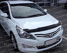 Дефлектор Хендай Акцент 4 рестайл (мухобійка на капота Hyundai Accent 4 рестайлінг)