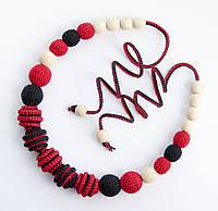 """Слингобусы Ярмирина """"Celebration"""" с рельефными бусинами, черный/красный, бук, коллекционные"""