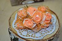 Букет розы с фатином (цена за букет из 10 шт). Цвет - персиковый