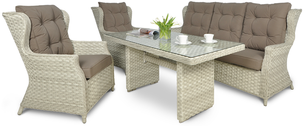 Комплект плетеной  мебели  BILBAO  DINING 3 MELANGE  WHITE диван + кресла+стол