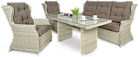 Комплект плетеной мебели  BILBAO  DINING 3 MELANGE  WHITE диван 3-х местн.+кресла+стол