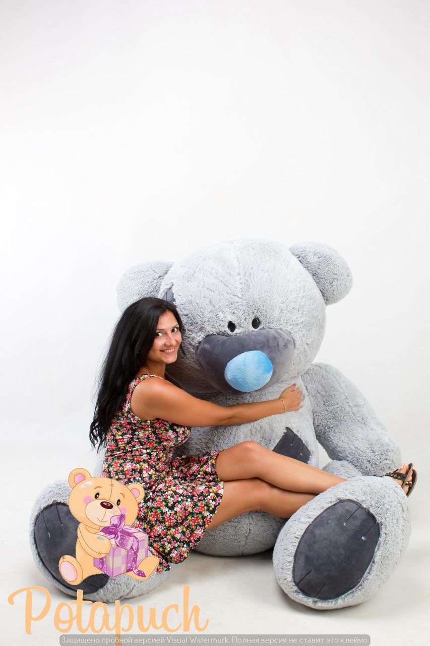 Большой плюшевый мишка  Тедди 230см серый
