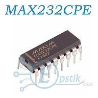 MAX232CPE, Многоканальный драйвер/приемник RS-232 UART, +5В, DIP16