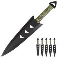Набор ножей метательных 6шт. (длина: 16.5cm, лезвие: 11cm), в ножнах