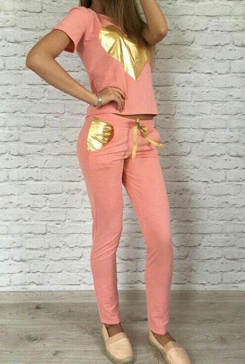 Спортивный костюм с сердцем трикотажный женский (двухнитка), фото 1