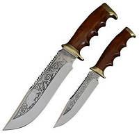 Набор ножей Спутник 'Туризм-2' (длина: 31cm, 23cm, лезвие: 18.2cm, 12cm), в кожаных ножнах