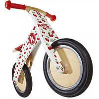 """12"""" Kiddi Moto Kurve деревянный, белый с вишенками, Беговел, велосипед без педалей"""