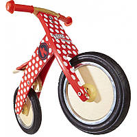 """12"""" Kiddi Moto Kurve деревянный, красный в белый горошек, Беговел, велосипед без педалей"""