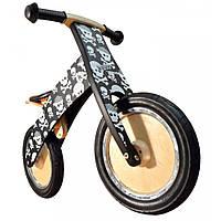 """12"""" Kiddi Moto Kurve деревянный, чёрный с черепами, Беговел, велосипед без педалей"""
