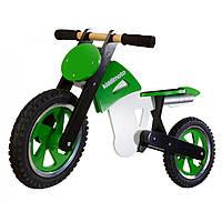 """12"""" Kiddi Moto Scrambler деревянный, зелёно-белый, Беговел, велосипед без педалей"""