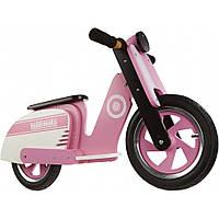"12"" Kiddi Moto Scooter деревянный, розово-белый, Беговел, велосипед без педалей"