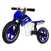 """12"""" Kiddy Moto Scrambler деревянный, сине-белый Беговел, велосипед без педалей"""