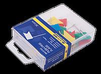 """Кнопки-цвяшки кольор. """"прапорці"""", 30шт., пласт.контейнер"""