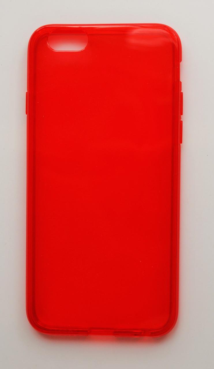 Чехол на Айфон 6/6s мягкий Силикон толщиной 0.8 мм Прозрачный Красный