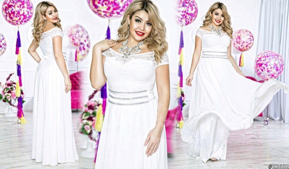 Платье  в пол шифон+гипюр+атлас