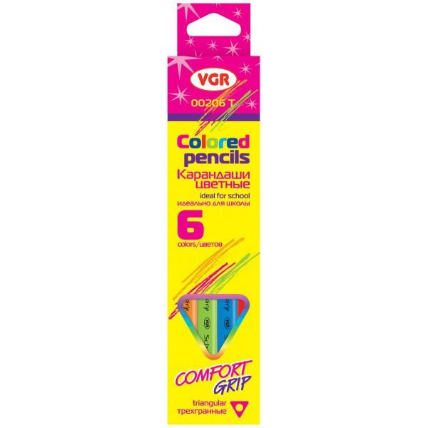 Олівці кольорові VGR 10206Т, 6 кол. тригранні
