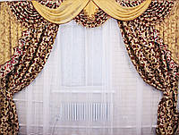 """Ламбрекен ручной выкладки из ткани """"Блэкаут"""" Код 069лш074"""