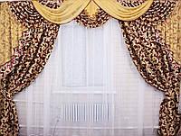 """Ламбрекен ручной выкладки из ткани """"Блэкаут"""" Код 069лш073(А), фото 1"""