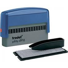 Штамп самонабірний TRODAT Printy 4916, 70*10 мм, 2 рядки,  каса: 3 мм  укр+рос,  корпус: синій (4916