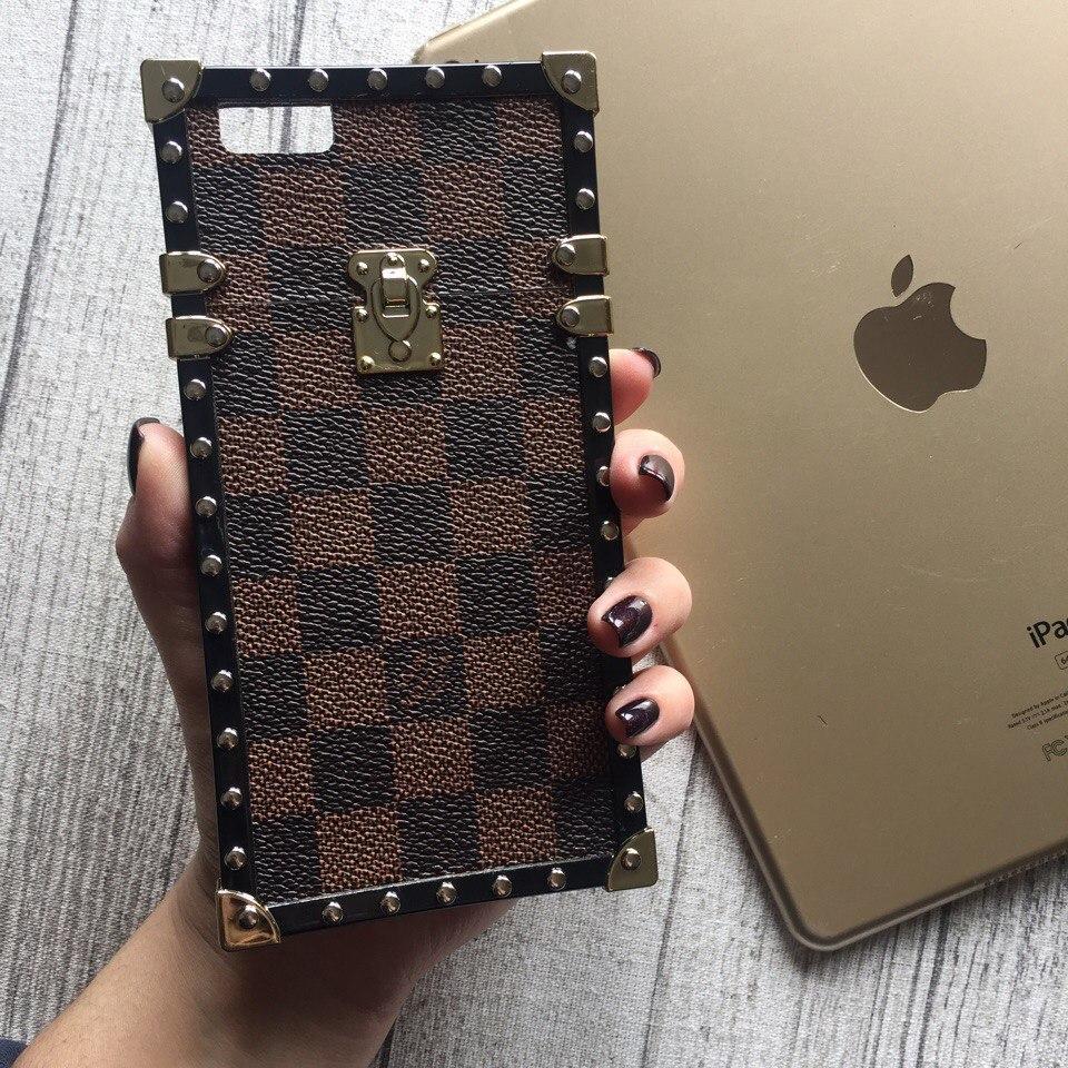 Силиконовый чехол Louis Vuitton коричневая клетка для iPhone 6 Plus/6s Plus