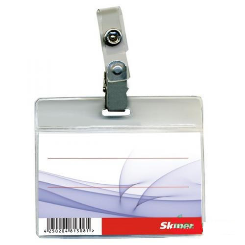 Бейдж SK-004 горизонтальный с клипом прозрачный 93х78 мм (126002)