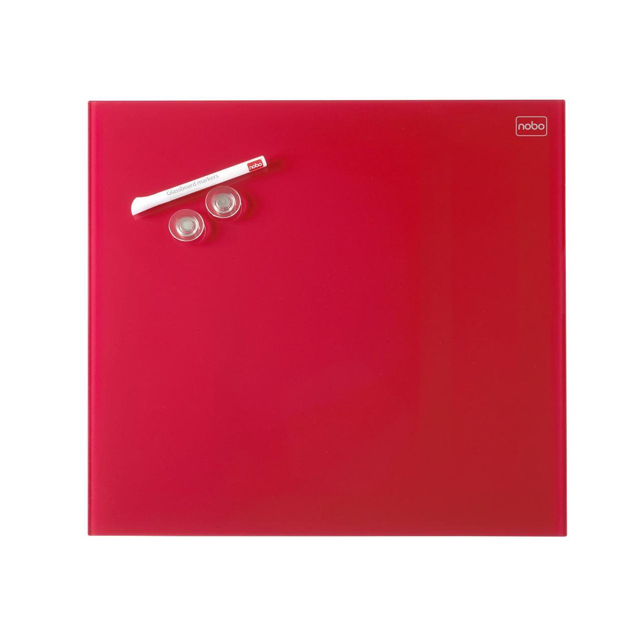 Стеклянная магнитно-маркерная доска Nobo Diamond 300х300мм, красная (1903954)