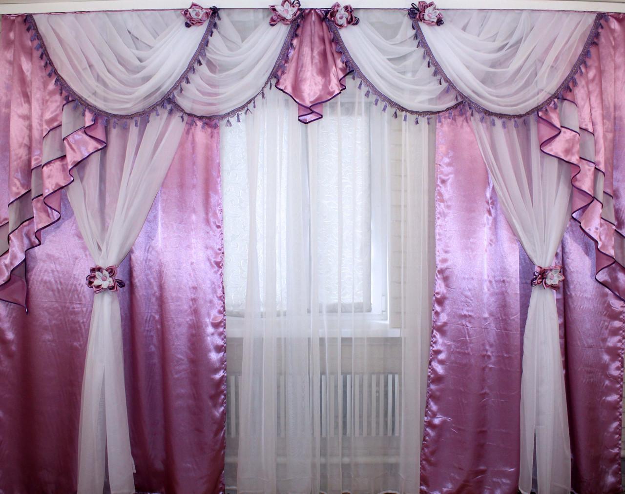 Ламбрекен №42 + двойные шторы, комплект.  Цвет сиреневый