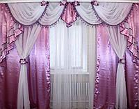 Ламбрекен №42 + двойные шторы, комплект.  Цвет сиреневый, фото 1