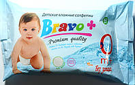 Серветки вологі ТМ Bravo+ 60 шт. Дитячі без запаху  к. 476