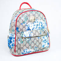 Красный женский городской рюкзак с цветочным принтом