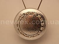 Магнит для штор Круг со стразами мокрое серебро