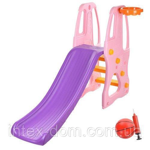 Детская горка Розовая (YG2016-7) пластмассовая