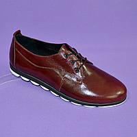 Женские туфли на шнуровке, из натуральной кожи бордового цвета