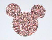 Аппликация из камней 11,5 см, Мини Маус, розово-серебристая
