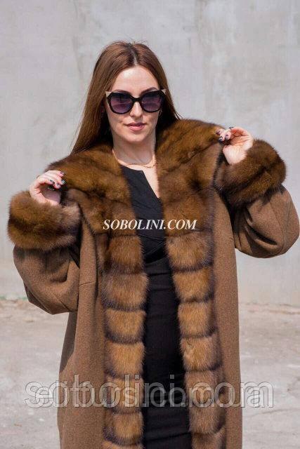 Восхитительное пальто из кашемира с шикарным мехом соболя, длина 110 см .