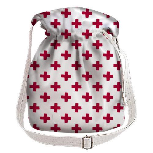 d2d6fe3e2194 Белая сумка торба женская с принтом красные крестики - MalvaOpt в  Хмельницком