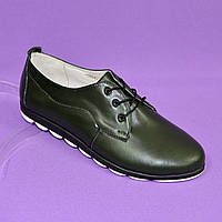 Женские туфли на шнуровке, из натуральной кожи зеленого цвета. 37 размер.