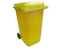 Бак для мусора пластиковый 120 л. желтого цвета