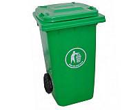 Бак для мусора пластиковый 360 л. зеленого цвета