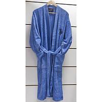 U.S. Polo Assn - USPA халат мужской махровый mavi голубой S/M