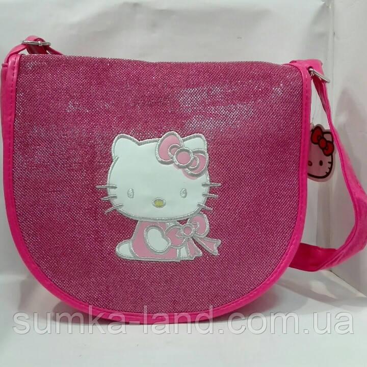 """Сумка детская """"Hello Kitty"""" блестящяя через плечо большого размера"""