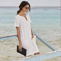 Модное комфортное универсальное платье из натурального льна с карманами средней длины