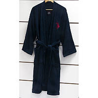 U.S. Polo Assn - USPA халат мужской махровый lacivert синий S/M