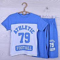 """Костюм детский """"Athletic"""" для мальчиков. 7-12 лет. Синий меланж. Оптом"""
