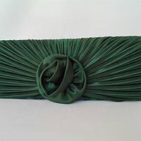 Сумка женская - клатч атласный зелёный